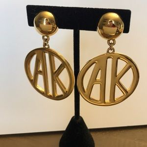 Anne Klein clip on monogram earrings gold